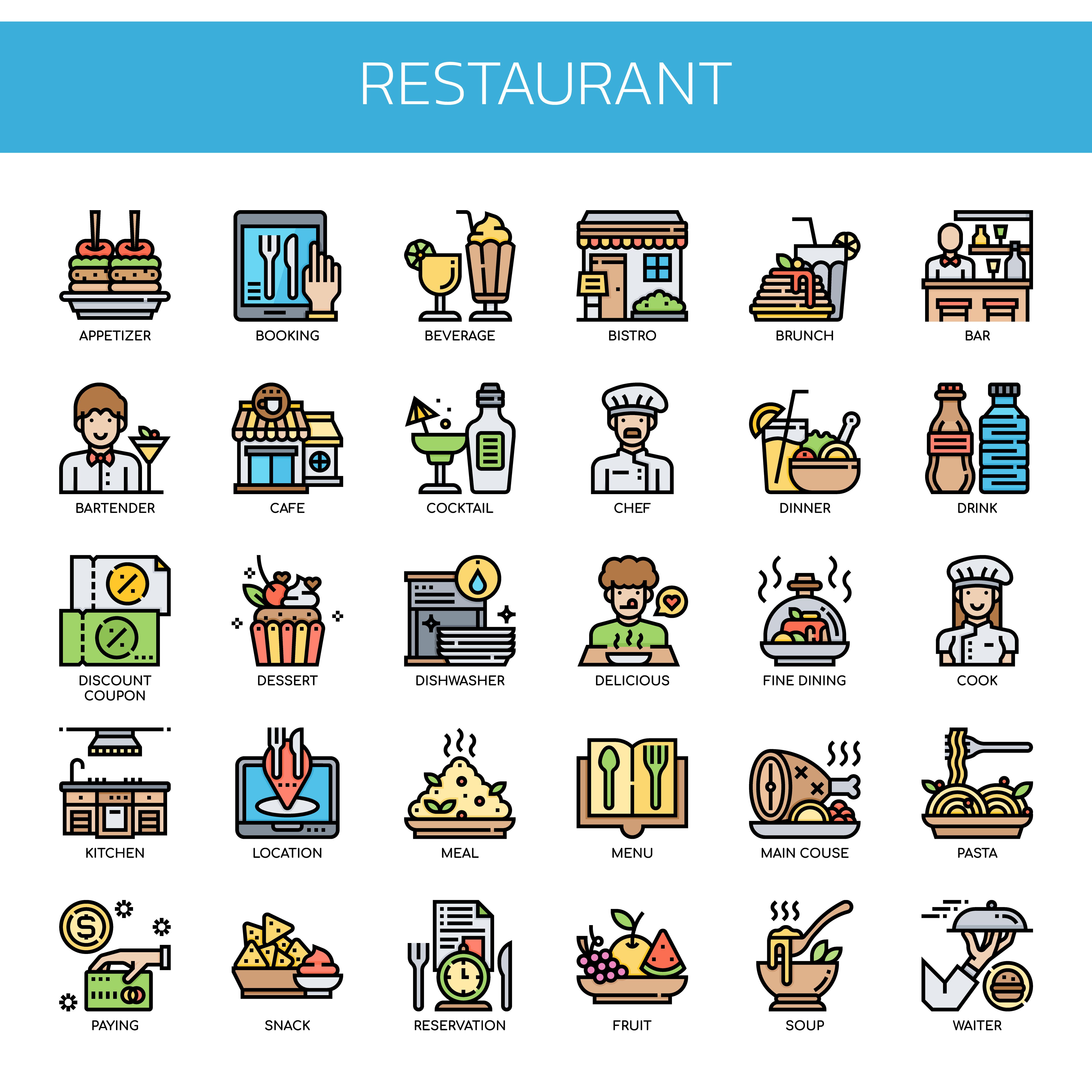 Elementos De Restaurante Linea Delgada Y Pixel Perfect Icons Descargar Vectores Gratis Illustrator Graficos Plantillas Diseno