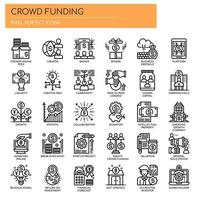 Crowdfunding , Thin Line and Pixel Perfect Icons vector