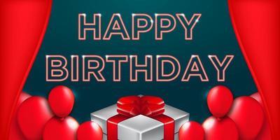 Banner de tipografía de feliz cumpleaños