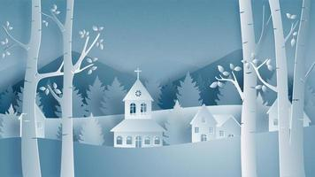 Landscape of village in winter field in paper cut style