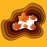 Autumn leaves paper cut style background