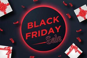Red Black Friday sale banner with gift box and confetti