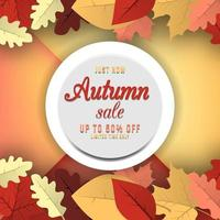 Sale banner with autumn leaves