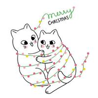 Cartoon mignonne Noël Couple chat embrassant