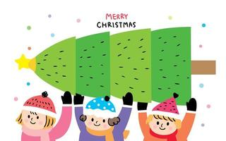 Christmas Kids and Christmas tree  vector