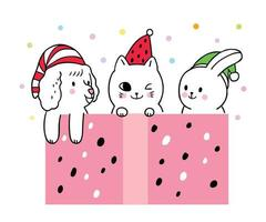 Cartoon cute Christmas, Dog and cat and rabbit