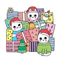 Cartoon cute Christmas cats and present