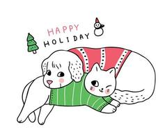 Cartoon cute Christmas Dog and cat sleeping