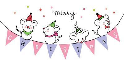 Cartoon cute Christmas sweet mouses  vector