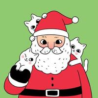 Cartoon cute Christmas Santa Claus und Katzen