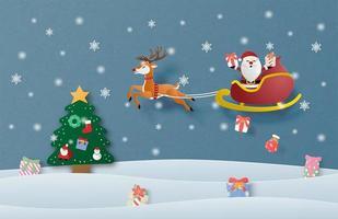 Tarjeta de feliz Navidad en papel cortado estilo