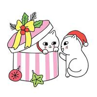 Cartoon cute Christmas couple cats and present