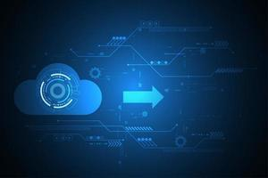 Digital cloud design on blue tech background