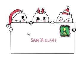 Desenhos animados bonitos gatos de Natal e carta para o Papai Noel