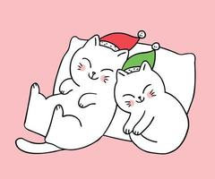 Cartoon cute Christmas Couple cats sleeping