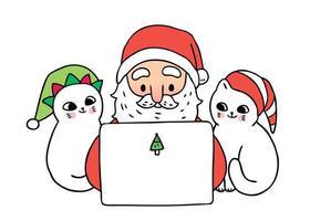 Dessin animé mignon Noël Père Noël et chats jouant à un ordinateur portable