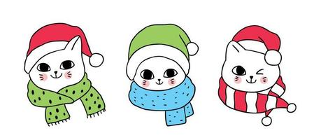 3 gatos bonitos de Natal dos desenhos animados