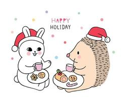 Rabbit and hedgehog eating sweet
