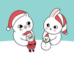 Cartoon cute Christmas cat and rabbit playing