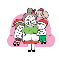Cartoon cute Christmas grandmother and kids reading book