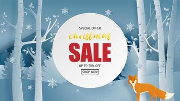 Christmas sale banner design in paper cut style