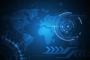 Conceito de exibição de tecnologia digital global