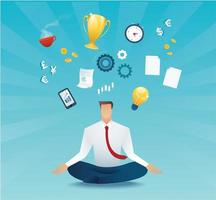 businessman sitting in lotus pose meditation vector