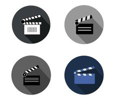 Set of clapper icons on white background