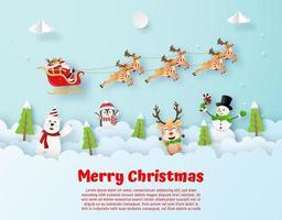 Santa en el cielo estilo origami Postal de Navidad