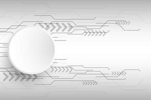 Objeto redondo cinza e branco com design de circuito abstrato