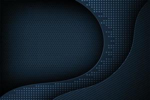 Dark blue dot matrix curved 3d layered shape background