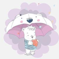 simpatico orsetto sotto l'ombrello