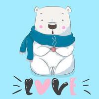 cute little bear holding cup vector