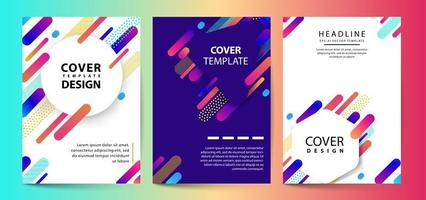 Futuristic pastel set of vector template with geometric shapes