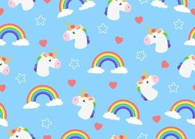 Seamless pattern of cartoon unicorn with clouds and rainbow vector