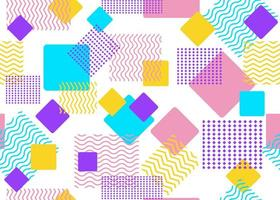 Seamless pattern of colorful shapes and geometric squares