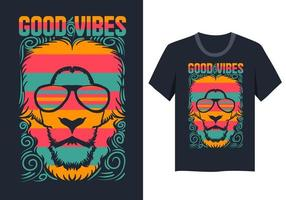 T-shirt visage de lion de bonnes vibrations illustration