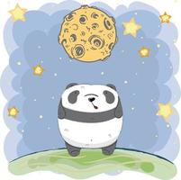 cute baby Panda under moon at night