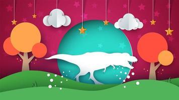 Ilustración de dinosaurio Paisaje de papel de dibujos animados. vector