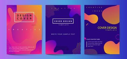 Fluid shapes poster covers set with modern hipster and memphis background vector