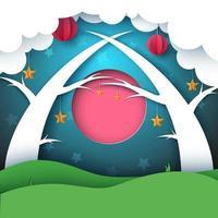 Paysage de nuit de dessin animé papier forêt. Lune, nuage, soleil, arbre