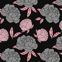 motif floral gris et rose