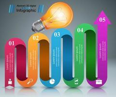 Diseño infográfico. Bombilla, icono de luz.