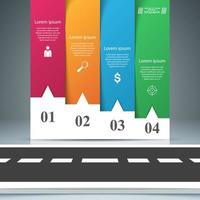 Road paper business infografía. Cuatro artículos de papel.