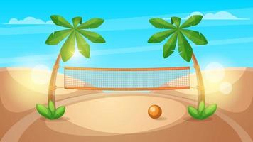 Beach volleyball illustration. Cartoon landscape.