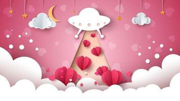 Cartoon ufo. Love, heart illustration.