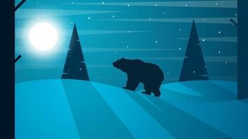 Cartoon flat tlandscape. Bear illustration. Fir, forest, moon, fog, cloud, snow, winter. vector