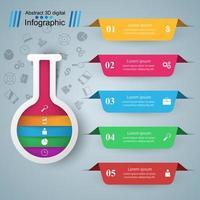 Tubo de ensayo - infografía empresarial. Cinco artículos de color