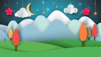 Cartoon papier landschap. Boom, bloem, wolk, gras, maan, ster.