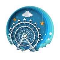 Paysage de papier de dessin animé. Illustration de la grande roue.